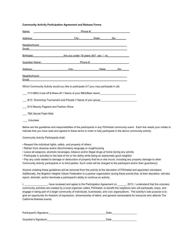 CommunityActivityAgreement1